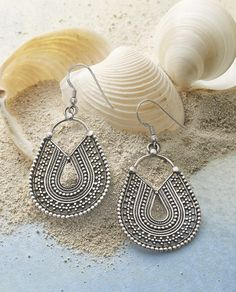 Inca Trail Earrings - sterling silver teardrops with exquisite details.