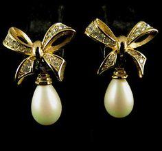 Vintage Earrings Gold Tone Rhinestone and Faux Pearl | eBay