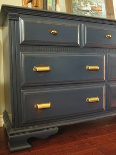 Distressed navy blue with gold hardware- dresser