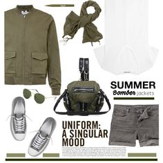 The Summer Bomber by barngirl on Polyvore featuring Helmut Lang, Fat Face, Converse, Alexander Wang, Ray-Ban and Stila