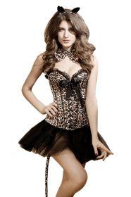 MUKA Women's Leopard Print Satin Fashion Party Corset Top With Panty $26.99 #corset #coupon