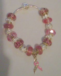 "Inspired by Pandora - Breast Cancer Awareness Bracelet with Beads -- Pink Ribbon ""Survivor"""