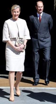 Sophie, Countess of Wessex accompanied by Prince Edward, Earl of Wessex walk out of the West Door of Bath Abbey on May 12, 2014 in Bath, England.