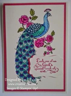 Creative Em: Perfect Peacock Stampin' Up! Peacock Logo, Peacock Art, Perfect Peacock, Dress Painting, Mixed Media Artwork, Mosaic Projects, Bird Cards, Stamping Up Cards, Ribbon Work