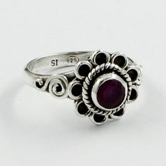Flower Shaped Ruby Agate Stone 925 Sterling Silver Ring by JaipurSilverIndia on Etsy