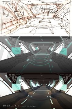 From RWBY episode I did concept for the interior of an airship, later modeled in show by modelers. (this picture is done in photoshop) RWBY (c). Rwby Episodes, Rwby Fanart, Show Me The Way, Landscape Background, Rooster Teeth, Animation Reference, It Goes On, Drawing People, Rpg