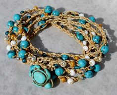 Sandy Turquoise 5X Beaded Crochet Wrap Bracelet w Turtle Button, Coastal Bracelet - by SeaSide Strands