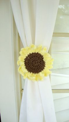 Crochet Sunflower Curtain Tie Back with Button Closure Set of Two Sunflowers by SOLEfulCreations on Etsy