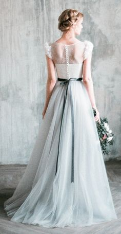 Wedding dress NEVA // Romantic grey wedding dress, lace and tulle a-line wedding gown, corset, dress with delicate chiffon flowers, milamira Neva romantisches graues Hochzeitskleid Tüll a-Linie Brautkleid Pastel Wedding Dresses, Lace Wedding Dress, Perfect Wedding Dress, Pastel Gowns, Pear Shaped Wedding Dress, Parisian Wedding Dress, Wedding Flowers, Wedding Bouquets, Bridal Gowns