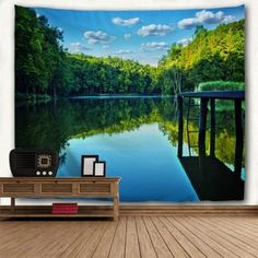 Forest Lake Water Print Wall Hanging Art Tapestry - COLORMIX W59 INCH * L51 INCH