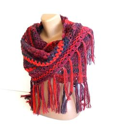SALE hand crocheted shawlstolewoman shawlmulticolorspring by seno, $65.00