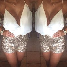 sequin sparkly shorts