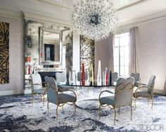perfection.  timothy haynes +kevin roberts  custom rug, vintage Lobmeyr fixture, table by Maria Pergay, Rene Drouet chairs..exquisite tension