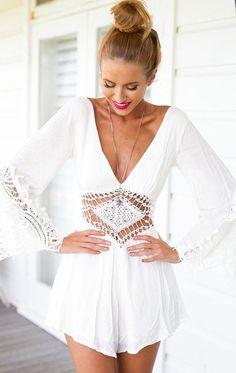 White Plain Hollow-out Lace Chiffon Short Jumpsuit. More fashion at www.jeannelm.com.