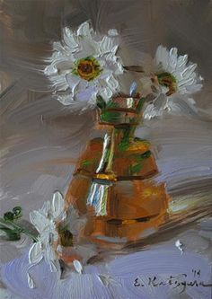 Daisies in a Vase - Original Fine Art for Sale - © by Elena Katsyura