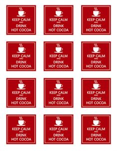 Keep Calm & Drink Hot Cocoa Tags