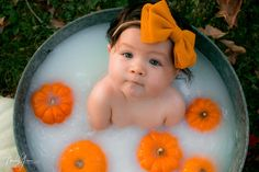 Baby in pumpkin milk bath milkbath Milk Bath Photos, Bath Pictures, Milk Bath Photography, Newborn Photography, Newborn Photos, Baby Photos, Fall Baby Pictures, Baby Pumpkin Pictures, Baby Milk Bath