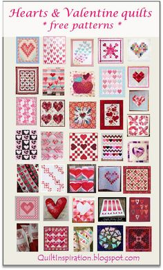 50+ free patterns for hearts and valentines. Quilts, wall hangings, table runners, pillows, quilt blocks. January 2016 at Quilt Inspiration.
