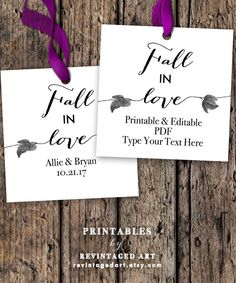 Fall in Love Tag Printable Editable Tag Template by RevintagedArt