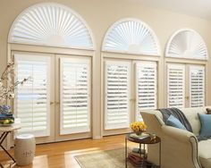 ideas for your french doors Arched Window Treatments, Custom Window Treatments, Arched Windows, Blinds For Windows, Window Coverings, Windows And Doors, Window Blinds, Shutter Blinds, Bay Window