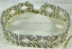 Linda's Crafty Inspirations: Bracelet of the Day: Silver with a Marcasite Look