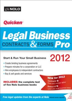 Start and run your small business, easily and efficiently, with this complete software package. You don't need an attorney for this - most of the legal work involved requires reliable information and the right legal forms. With Quicken Legal Business Pro 2012, you'll get everything you need to get the job done. Just follow the guided onscreen interviews and easily create customized documents that let you: •  structure or buy a busi...