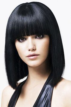 Straight Black Grown Out Bob with Ultra Straight Fringe