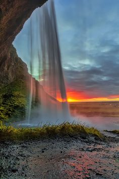Inside Seljalandsfoss ~ sunset, South Iceland by Fabio Serra