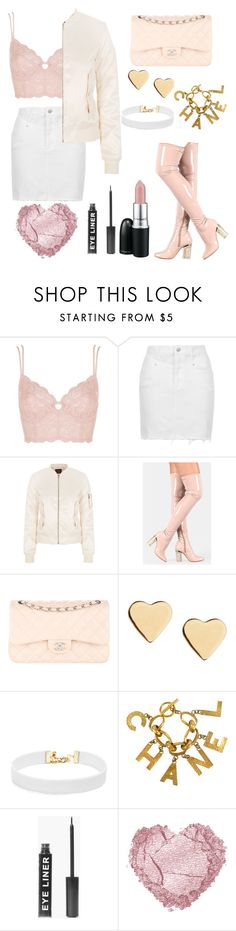 """""""Money is the anthem of success"""" by walkeralexzandreia ❤ liked on Polyvore featuring Topshop, Maje, Chanel, Lipsy, Vanessa Mooney, MAC Cosmetics and Boohoo"""