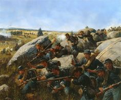 The 140th New York on Little Round Top Gettysburg, July 2, 1863  Artist:  Keith Rocco
