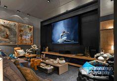 Salas multimedia de estilo Moderno por Mariana Borges e Thaysa Godoy