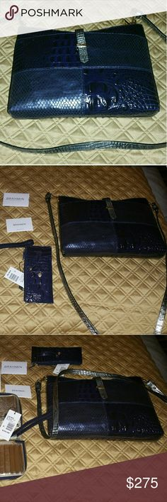 Brahman Cross body bag and wallet Beautiful navy blue Brahman crossbow bag and wallet. Brahmin Bags Crossbody Bags