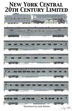 Hand draw New York Central 20th Century Limited drawings by Andy Fletcher