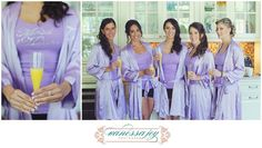 These purple bridesmaids know how to start off a wedding right!