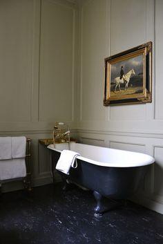 Victorian bathroom decor in country house with paneled walls, antique . - Victorian bathroom decor in country house with paneled walls, antique cast iron bathtub, towel rail - Attic Bathroom, Modern Bathroom, Small Bathroom, Minimal Bathroom, Bathroom Art, 1920s Bathroom, Paris Bathroom, Bathroom Paneling, Bathroom Green