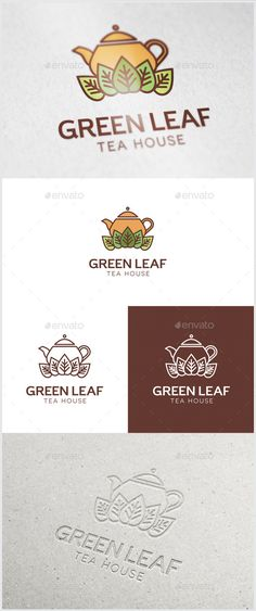 Green Leaf Tea Logo (AI Illustrator, Resizable, CS5, beverage, brown, business, cafe, drink, fresh, green, green leaf, healthy, herbal, icon, identity, leaves, logo, plant, shop, tea, tea cup, tea house, tea pot, Tea Shop, warm)
