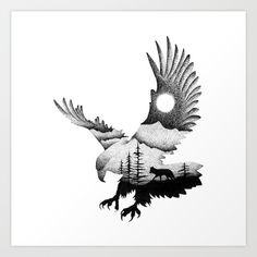THE EAGLE AND THE FOX Art Print by thiagobianchini - Collect your choice of gallery quality Giclée, or fine art prints custom trimmed by hand in a vari - Natur Tattoos, Kunst Tattoos, Tattoo Drawings, Art Drawings, Eagle Tattoos, Wolf Tattoos, Animal Tattoos, Celtic Tattoos, Small Eagle Tattoo
