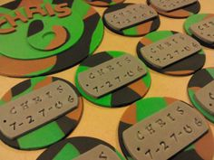 Camouflage and Dog Tags, Edible Fondant Cake Top and Cupcake Toppers