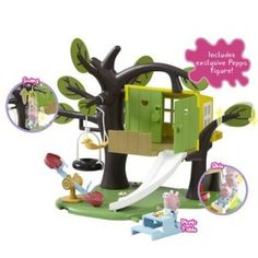 Peppa Pig Tree House Playset Peppa Pig Tree House Playset Have tree house adventures with Peppa! Tyre swing, wind-up tree house swing, see-saw & slide included. NEW Muddy Puddle Splash Design! Also has cute outdoor picnic table. Box Contains 1 x Picnic Peppa Pig Treehouse, Peppa Pig Merchandise, Outdoor Picnic Tables, Pokemon Toy, Toy Story 3, Garbage Truck, Pull Toy, Lol Dolls, Little Pigs