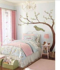 Cute bedroom ideas for girl (baby, toddler, little girl & twin teenage girl).Cute painting and decoration for girls room. Master Bedroom Interior, Bedroom Wall, Bedroom Decor, Light Bedroom, Cute Bedroom Ideas, Girl Bedroom Designs, Teenage Girl Bedrooms, Girls Bedroom, Kid Bedrooms