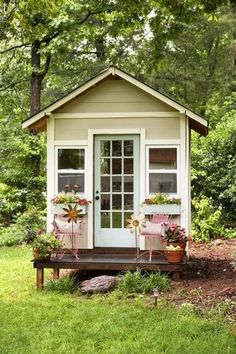 a petite garden shed sits in the back of katie and derrill darbys greenville