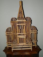 Vintage Hand Made Asian Bamboo Temple Style Bird Cage - Free USA Shipping