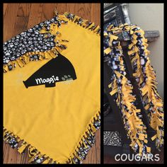 Personalized cheerleader 'no-sew' fleece blanket  and scarf for football season. #cheergift #fridaynightlights Link to DIY blanket: https://www.pinterest.com/pin/175007135497050055/
