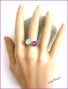 BAGUE / Argent - Vert-lagon/Violet-Améthyste - Ajustable - Argent / Bleu -Cristal Swarovski : Bague par ladyplazza Violet, Swarovski, Gemstone Rings, Gemstones, Etsy, Jewelry, Crystal, Green, Blue