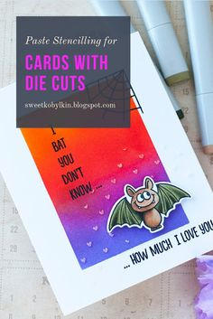 Tips on using texture pastes for cards with die cuts. This card is made with Gerda Steiner Bats stamps Texture Paste, Copic Sketch, Card Making Tutorials, Masking, Clear Stamps, Bats, Colouring, Handmade Cards, Stencils