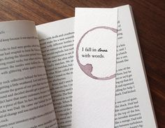 I Fall In Love With Words Bookmark, Love Quote Bookmark, Unique Paper Bookmark, Beautiful Quote Bookmark, Book Club Gift, Gift For Reader