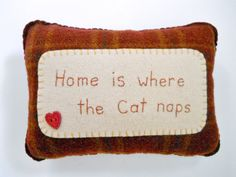 Cat Pillow  Novelty Throw Pillow  Home is by ThePineappleCatz