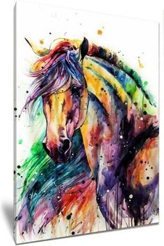 Horse Watercolor Painting Colorful Rainbow Portrait Canvas Print Decorative Art Wall Décor Artwork Wrapped Wood Stretcher Bars - Ready to Hang Handmade in The USA - Watercolor Horse, Watercolor Animals, Watercolor Paintings, Pastel Paintings, Watercolors, Painted Horses, Horse Drawings, Art Drawings, Drawing Art