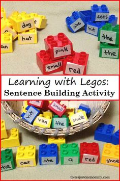 Learning with Legos: teach sentence structure with this simple sentence activity using Lego Duplo blocks; also work on parts of speech