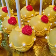 Beauty and The Beast Belle Cake Pops, Beauty And The Beast Theme, Beauty And Beast Wedding, Beauty Beast, Beauty And The Beast Cupcakes, Beauty And The Beast Birthday Cake, Disney Cake Pops, Disney Cakes, Disney Desserts, Princess Birthday